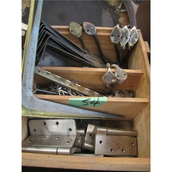 heavy duty hinges, coat hooks, shelf brackets