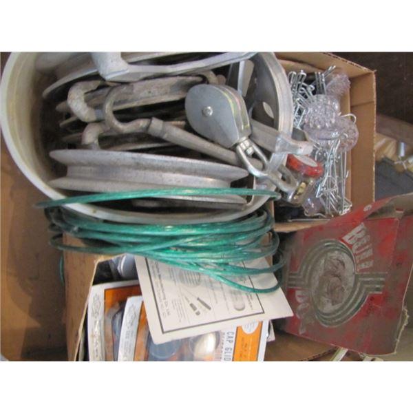 clothesline and reels, steel wool, curtain hangers