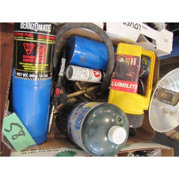 propane fuel, torch heads, flashlight, propane heater