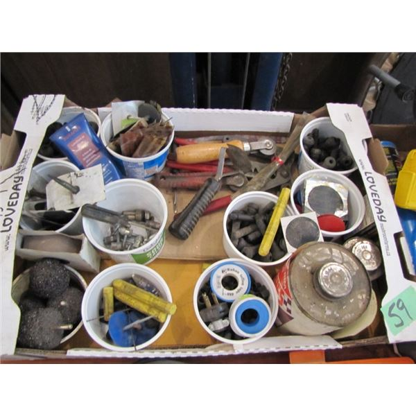 box with assorted tire repair items