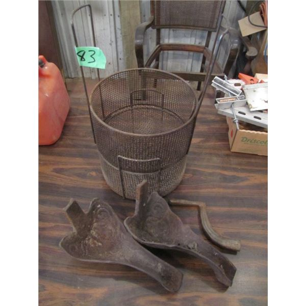 baskets strainers, cast stove legs, and stove handle