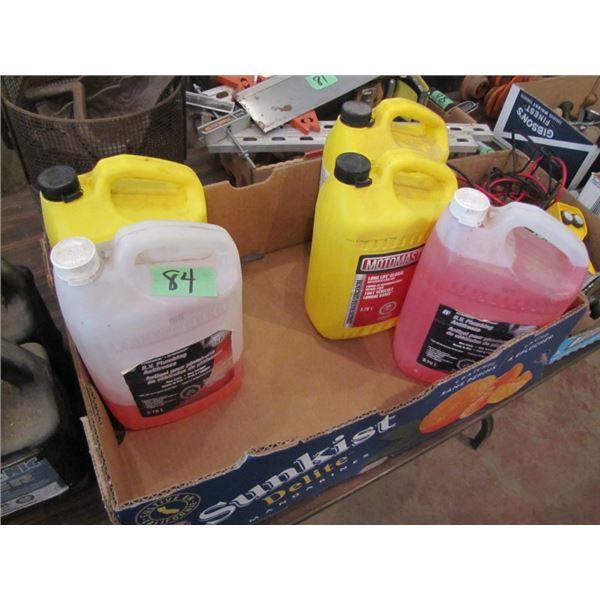 one jug RV antifreeze full, 2 jugs antifreeze coolant full, 2 part jugs antifreeze one is RV, 2 part