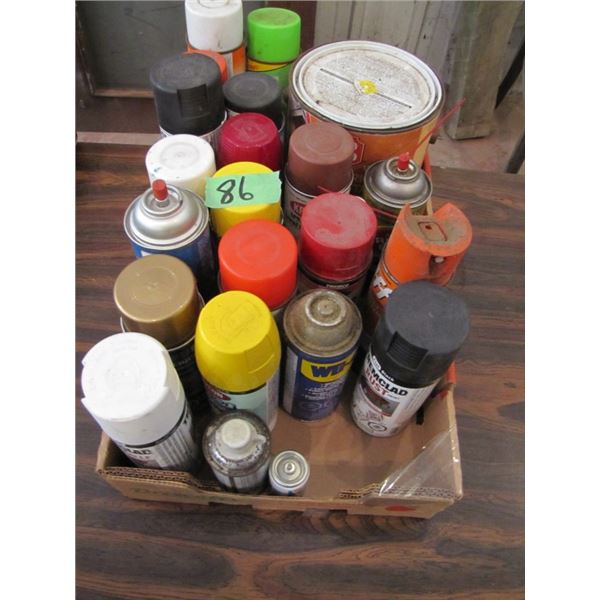 box of assort paint and sprays- not sure if they will still spray