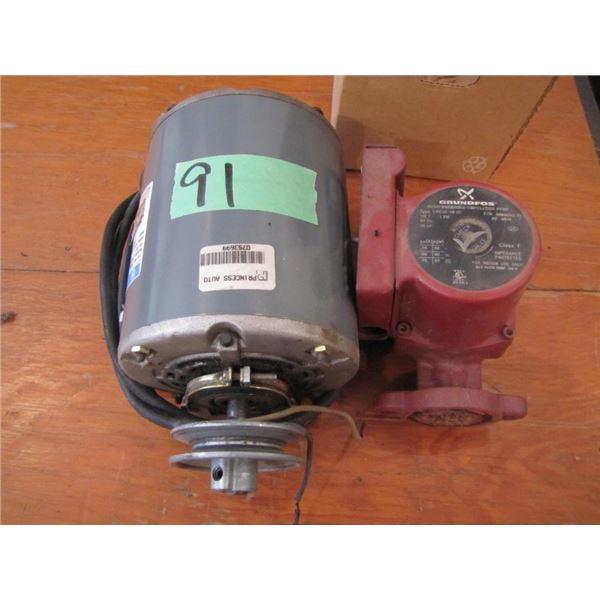 used circulating pump and 1/4 hp electric motor