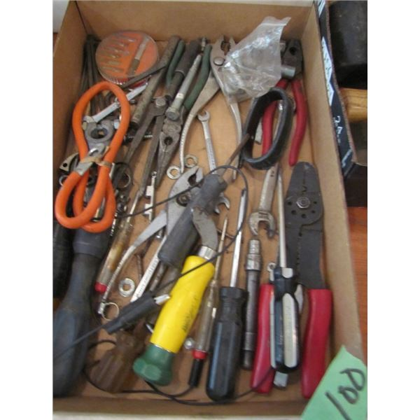 Tray with various pliers and miscellaneous