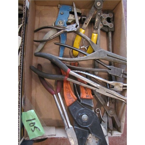 lot of snap ring pliers, chain break, and more