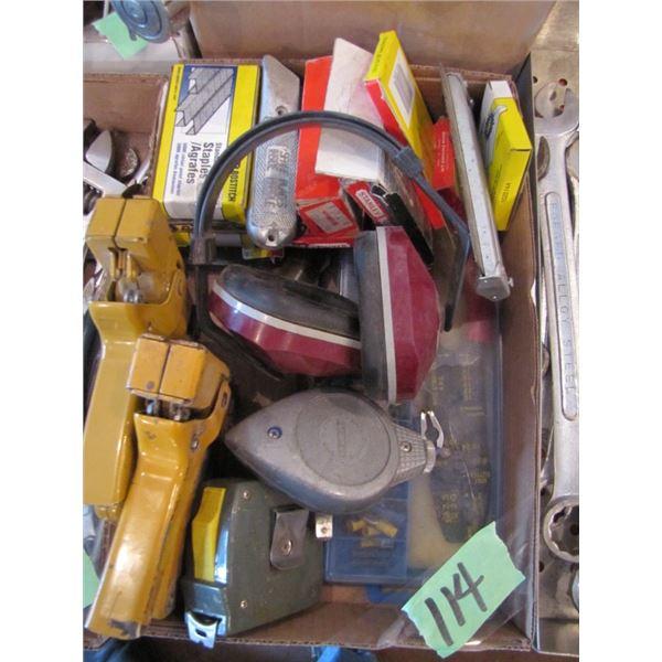 staplers, staples, hearing protectors, chalk line,