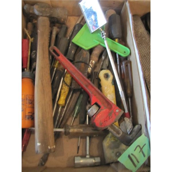 pipe wrench, hammer, screwdrivers