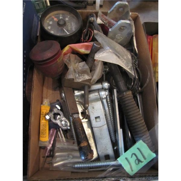 tachometer, hinges, battery post clamp