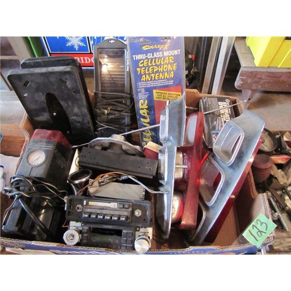 Chrysler tail lights, car radios, cellular telephone antenna, solar charger, 12 volt air compressor