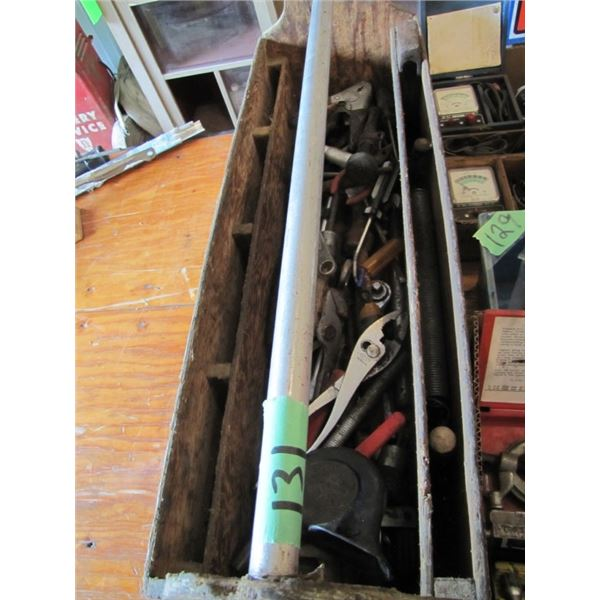 wood toolbox and contents, wrenches pliers and more