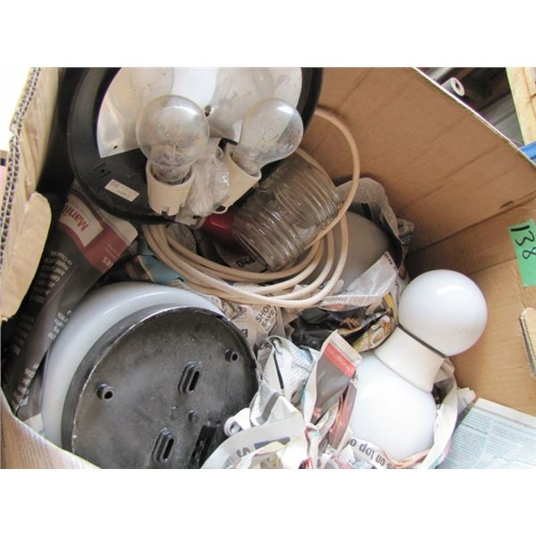 box with assorted light fixtures and globes