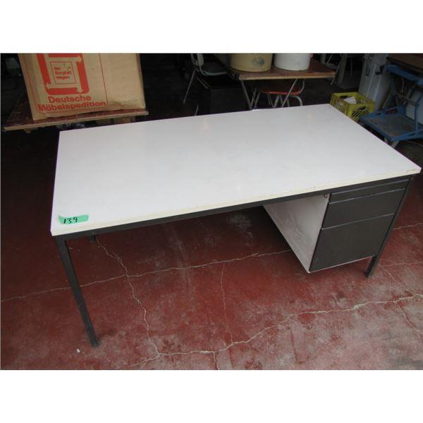 single pedestal steel frame desk with run off