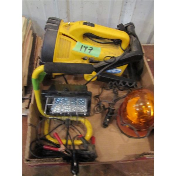 12 volt lights - the two yellow ones light up when plugged into a cigarette lighter - no charger for
