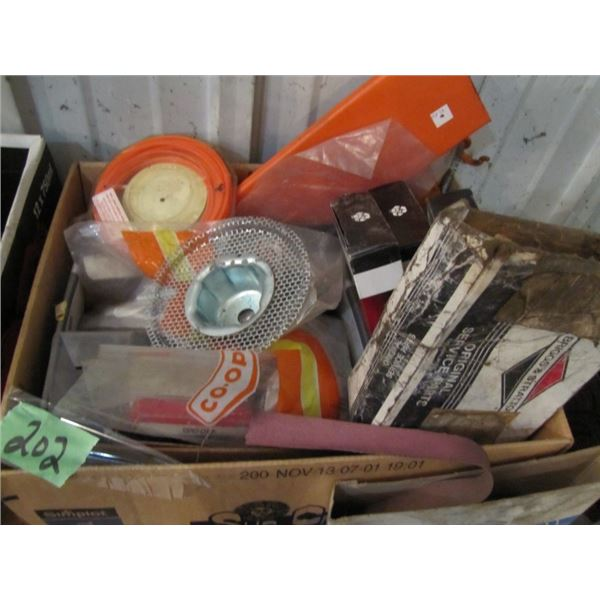 box of assorted small engine parts