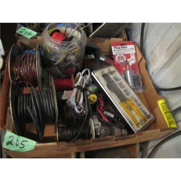 box of 12 volt electrical repair wire etc.