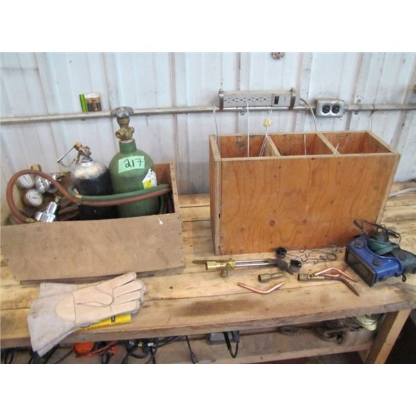 oxy acetylene welding set with gauges holes and tips etc.