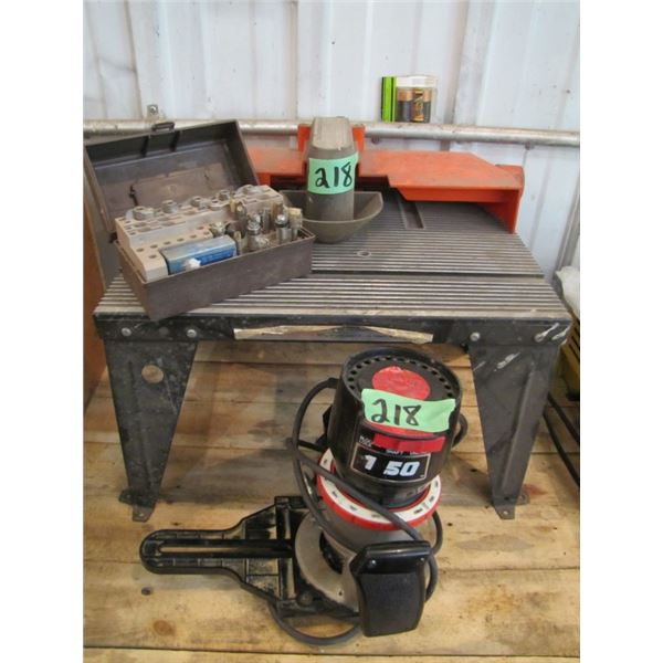 craftsman router with tabletop router table and assorted bits