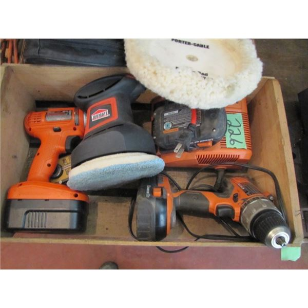 box with 2 non working drills and random orbit buffing polisher
