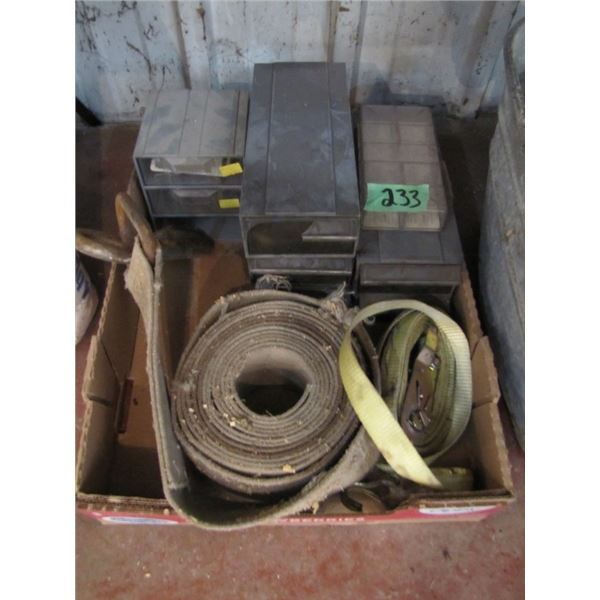 lot of storage trays and tie down straps