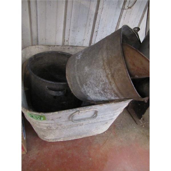 wash tub, pail, funnels