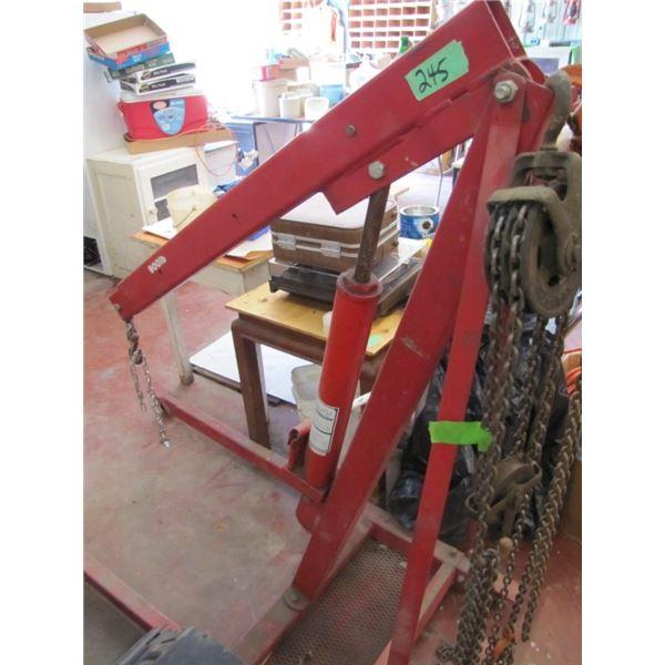 Deluxe mobile crane three-quarter ton with 3 ton long RAM Jack