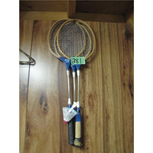 lot of three badminton racket