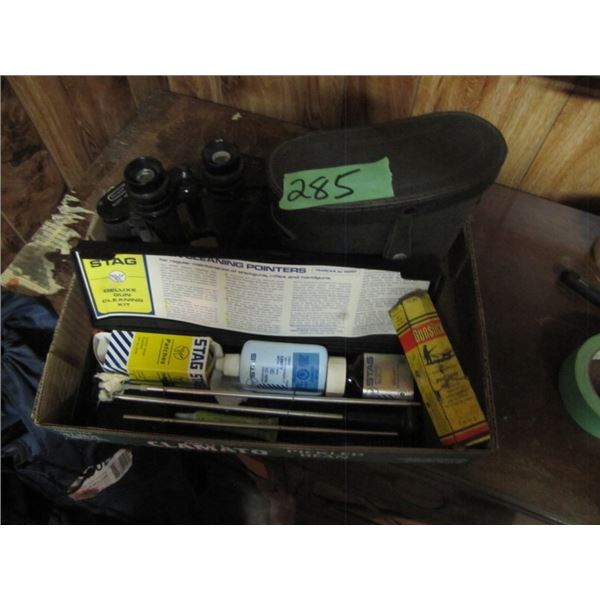 lot with 7 by 50 binoculars gun cleaning kit