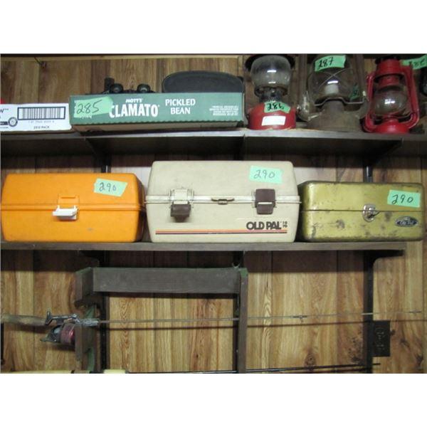 lot of three tackle boxes