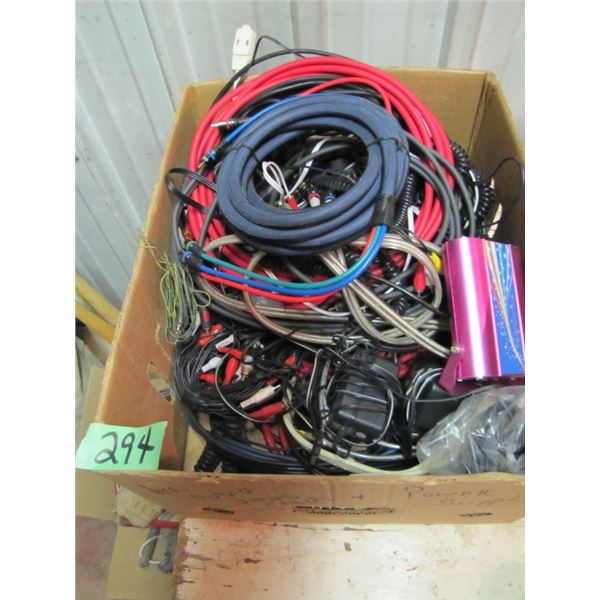 box with RCA cables etcetera, record player, traveling bar kit
