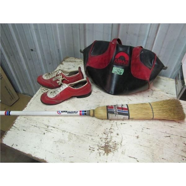 straw curling broom, asham curling bag, curling shoes