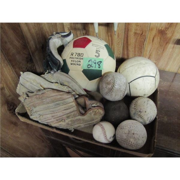 lot with soccer ball, baseballs, baseball gloves, shot put 9 pound
