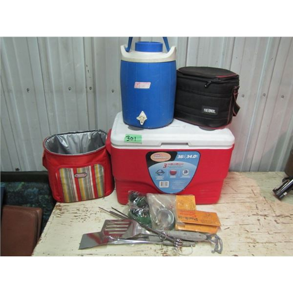 lot of camping coolers and utensils