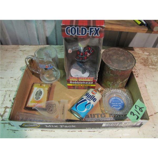 Don Cherry bobblhead head, Gulf oil tin, etc.