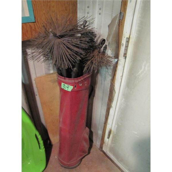 Golf bag with chimney sweep tools