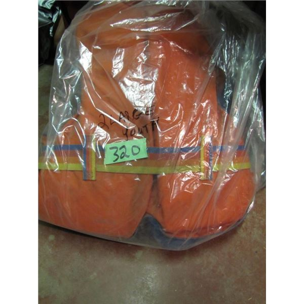 bag with two large youth life jackets