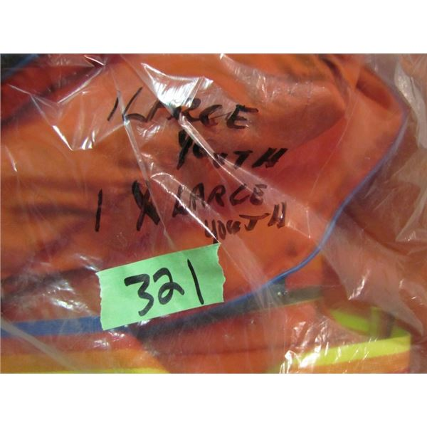 bag with large youth and one extra large youth life jackets