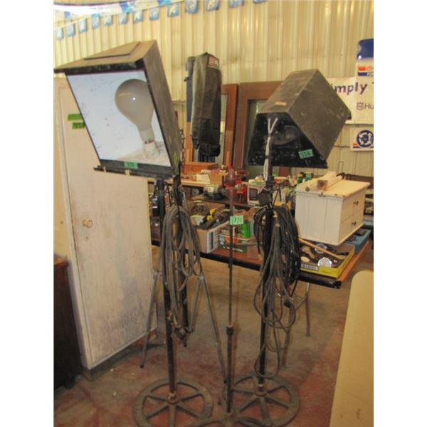 lot of two Kliegl brothers stage lights with cast bases and two other stands - the other one with a