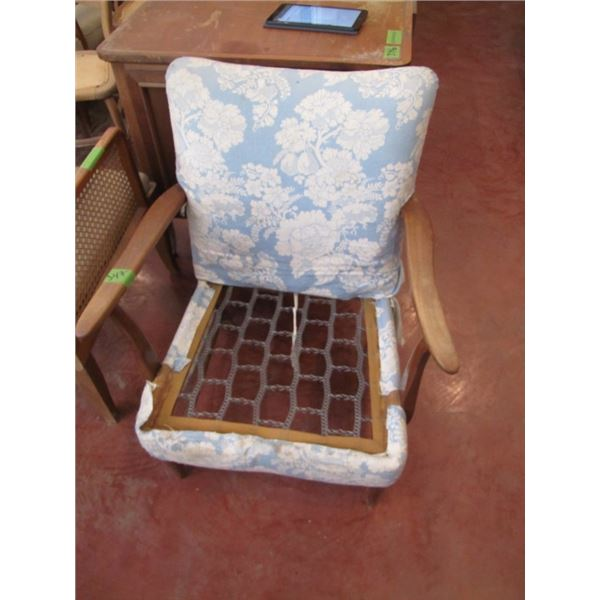 blue upholstered chair no seat