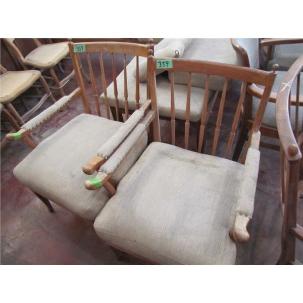 two wood frame upholstered chairs need to be recovered