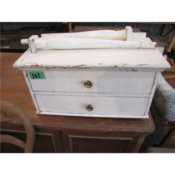 small white to drawer wall mount cabinet with legs