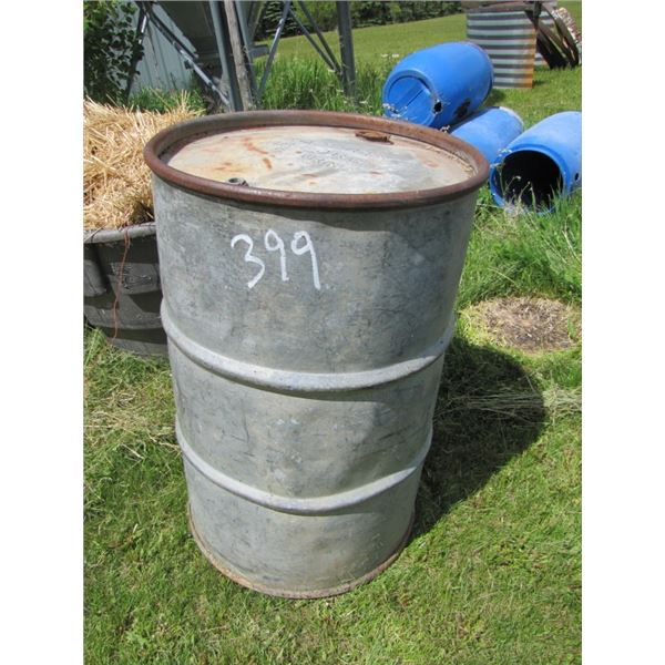 """metal 45 gallon drum - Marked """"property air Force US Army"""""""