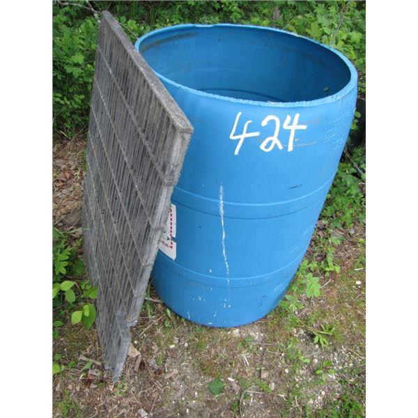 plastic Barrel and grate