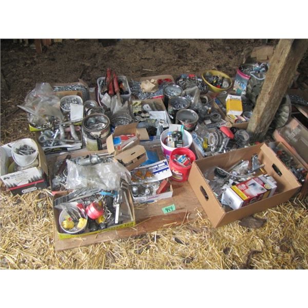 large lot of nuts and bolts, nails, and miscellaneous shop supplies