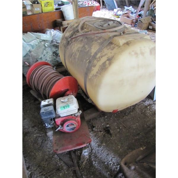sprayer tank, hose reel, Honda 5 horsepower motor
