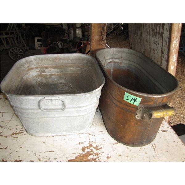 copper boiler and galvanized wash tub