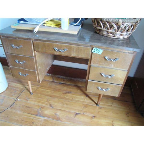double pedestal wood desk