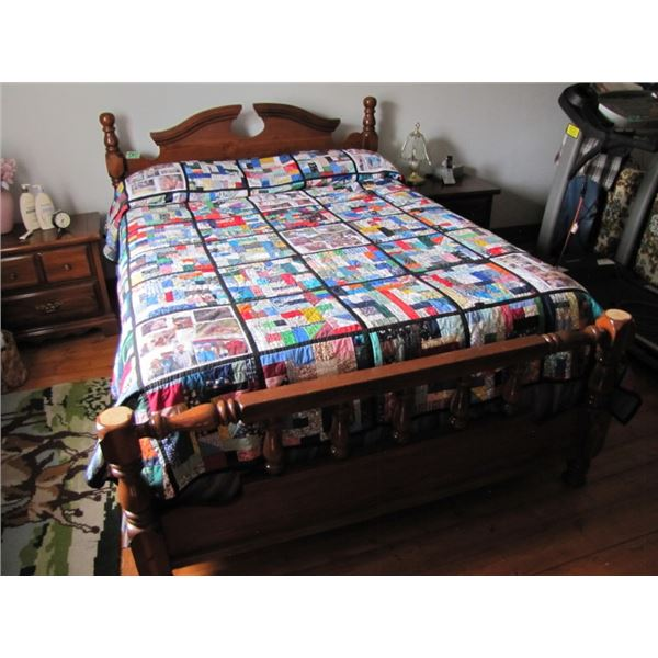 wood framed queen size bed with box spring and mattress