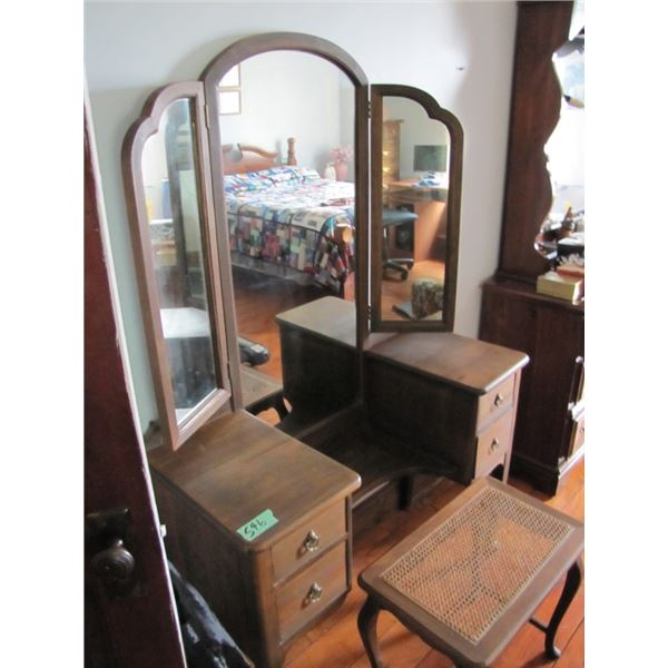 Dressing vanity with stool