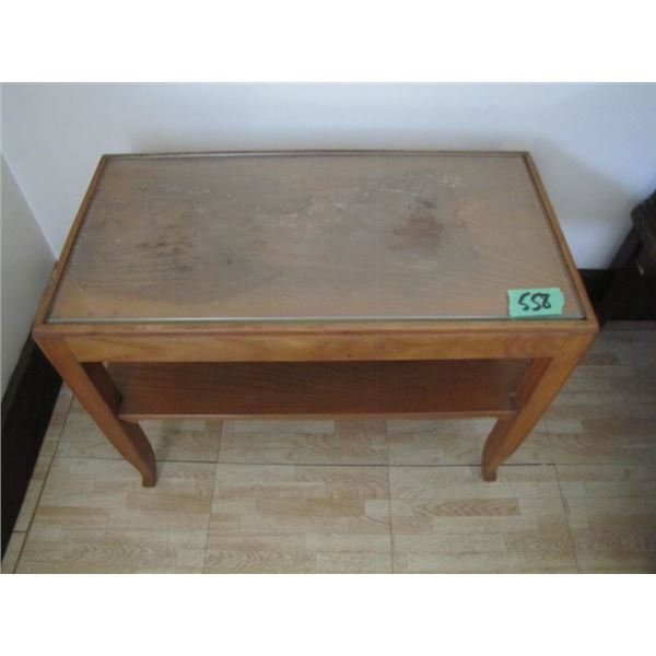 wood end table w / glass top